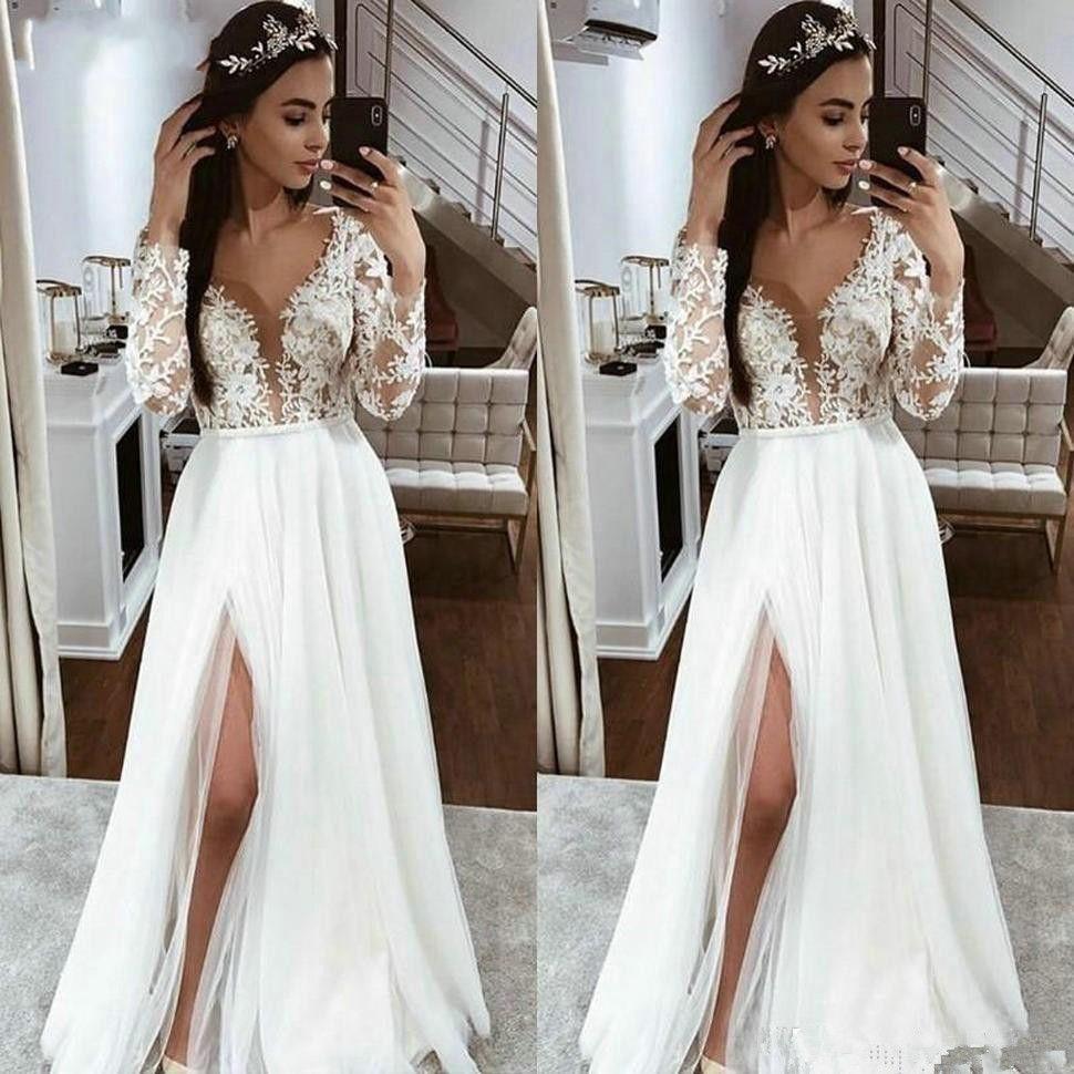 Vestidos de boda elegante de Boho tul blanco vestidos de novia de manga larga de encaje apliques de hendidura lateral 2020 Nuevo País de Marfil playa vestido de novia Nueva