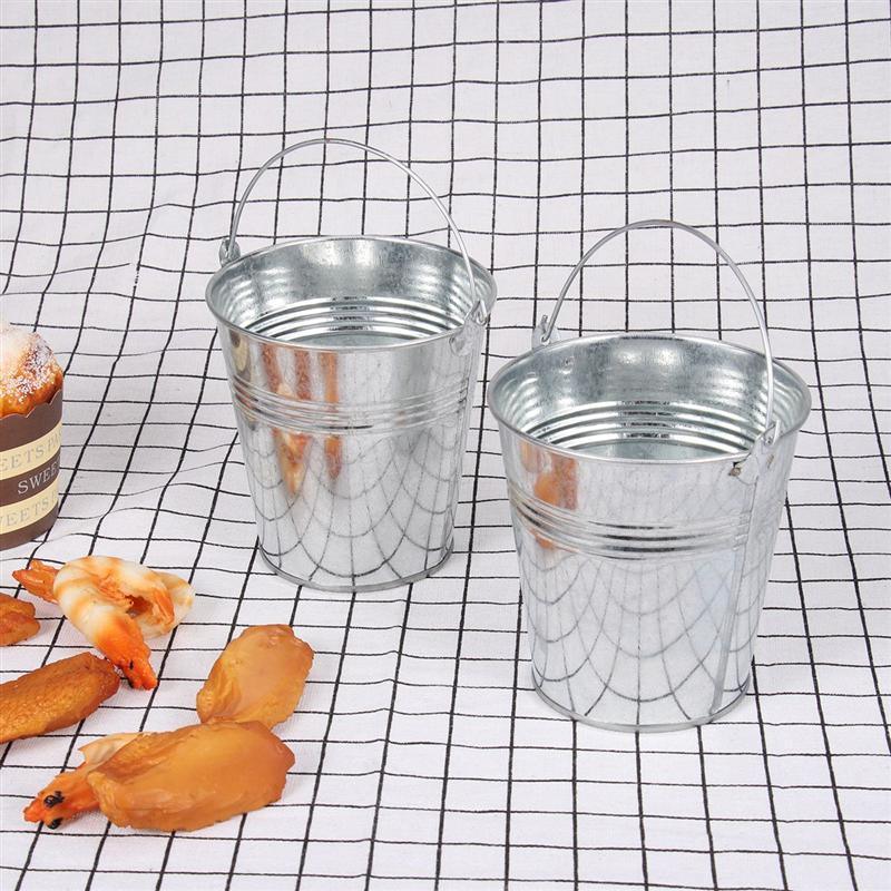 LUOEM 6pcs Mini Tinplate Metal Puckle Snapple Buckets Icing Bucket French Fries Pails Ice Bucket Wedding Birthducket