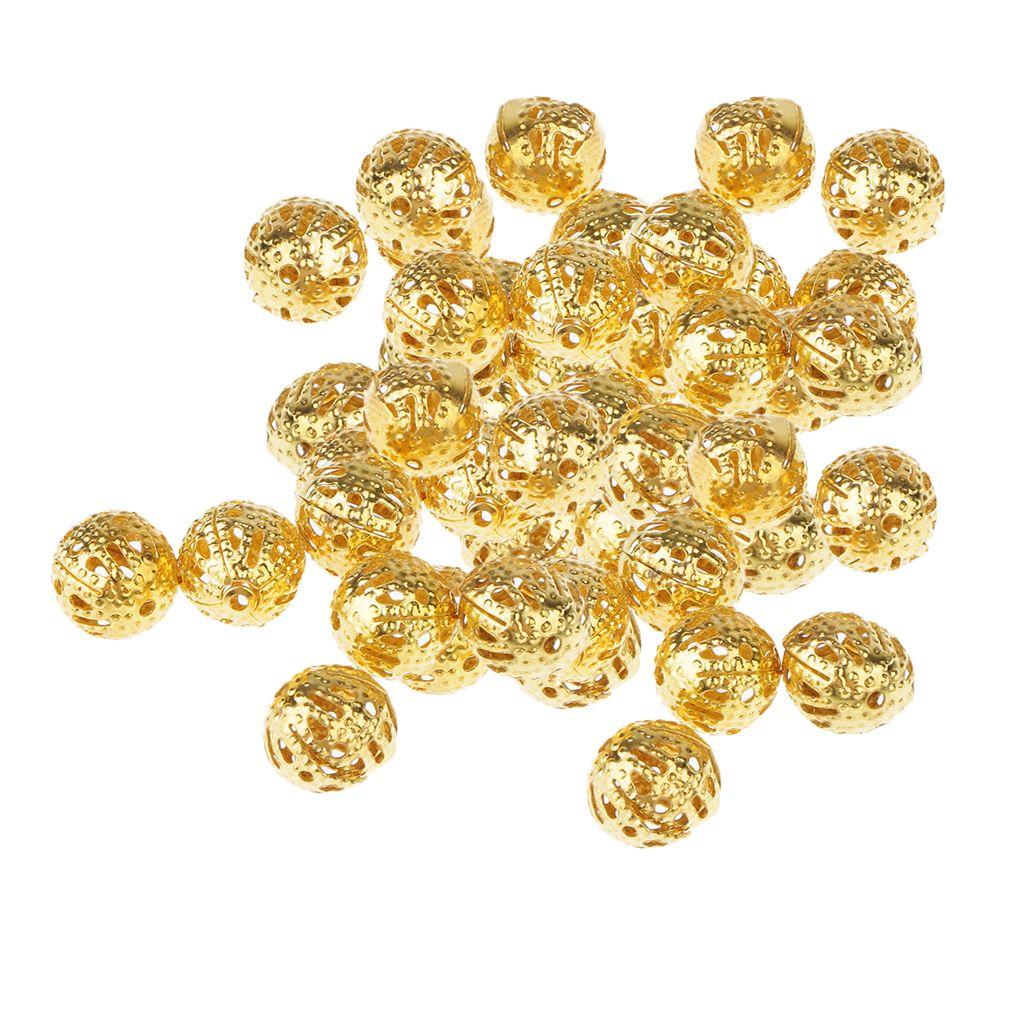 100 piezas de oro de color espaciador de los granos de la bola de filigrana ahuecadas fabricación de la joyería perlas pulseras Becklace Mini bolas de metal 8mm
