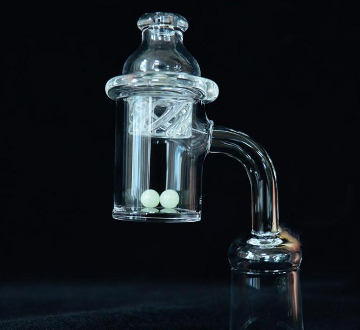 2pcs Female Male 10 14 18 mm Quartz Nail Thick 100% Pure Quartz Banger Nail Domeless Glass Bong Nail with Spinning Carb Cap and Terp Pearl