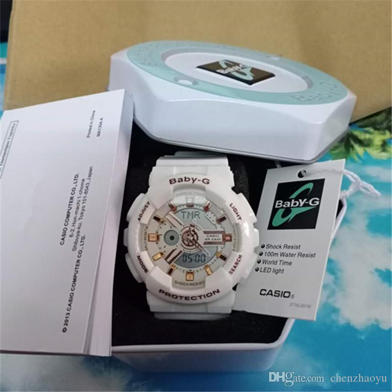 Top qualidade esportes G-bebê Relógios Mulheres LED Digital Designer relógio chronography Militar relogio masculino de pulso com caixa e manual