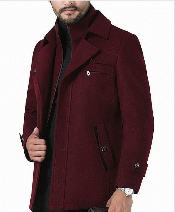 Mens Winter Sólido Color Button capas largas solapa de cuello estilo de la cremallera del negocio de manera hoome Vestimenta informal Corta Vento
