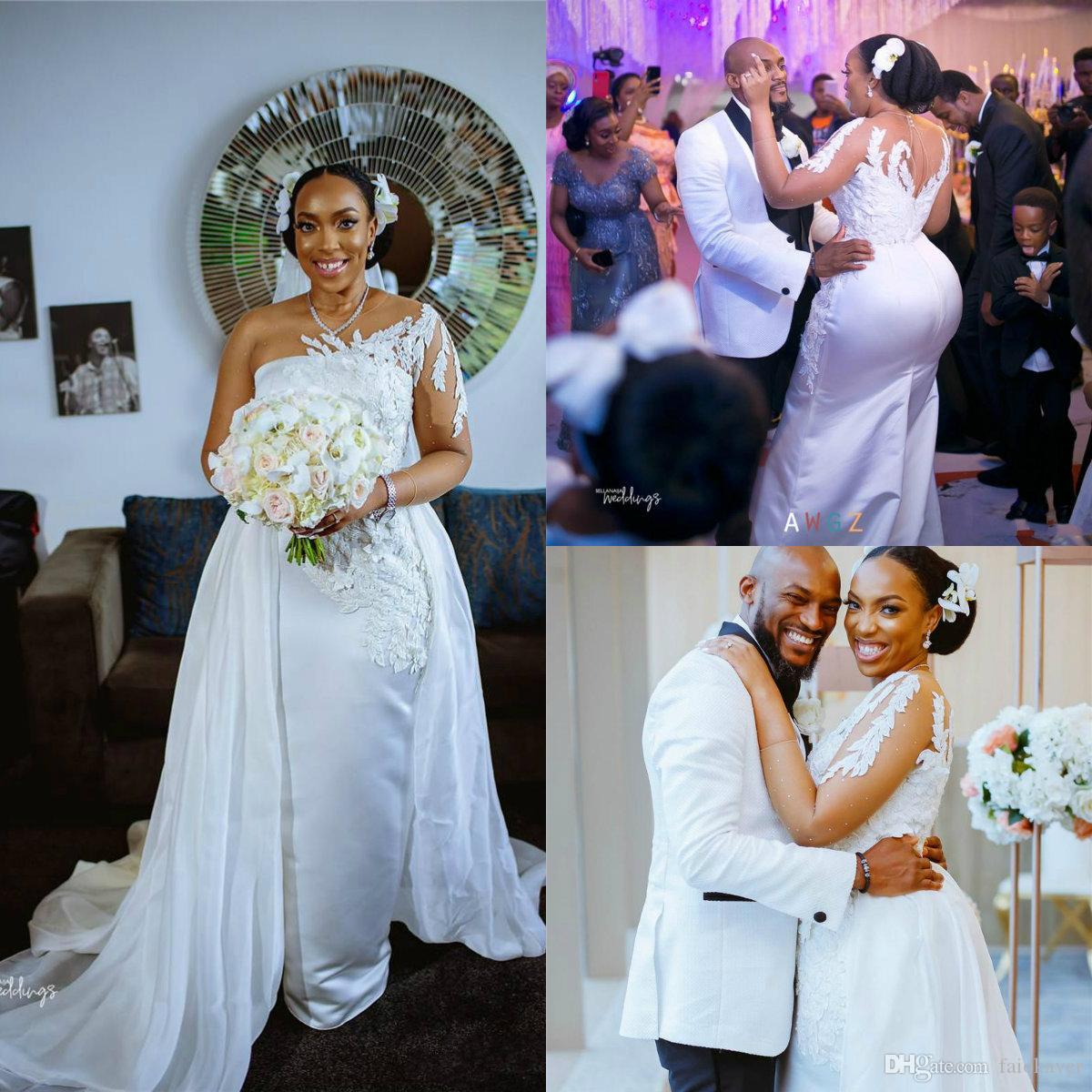 2020 des robes de mariage avec détachables train satin une épaule sirène Appliques Robes de mariée balayage train Custom Made robe de mariée