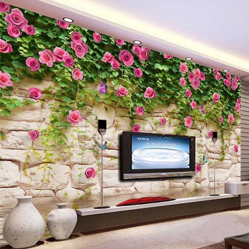 Dropship Фото обои Современные Простые Пастырское цветы кирпичной стены Mural TV Свадебный дом Фоном Роспись стен Home Decor