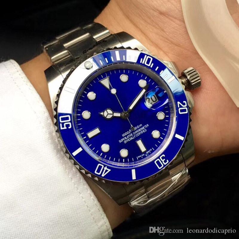 Reloj A238 del diseñador del Mens del reloj 8215 Movimiento Mecánico automático de texto azul azul de la fecha de acceso telefónico de cerámica plegable de acero de la correa de Hombres de acero de lujo