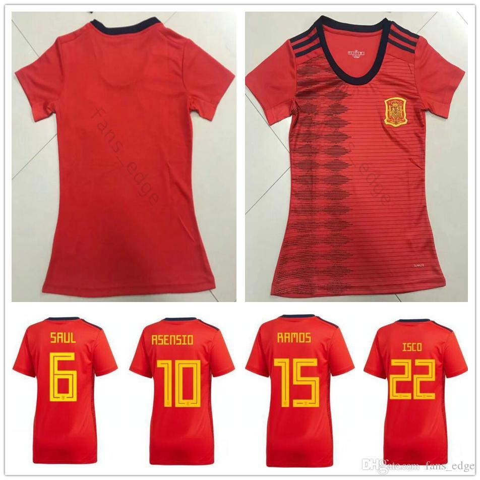 2019 Coppa del Mondo Donna Spagna Maglie da calcio A.Iniesta Ramos Diego Costa ISCO ASENSIO SILVA CUSTOM CUSTOM ESPANA FEMMINA Femminile Girl Girl Shirt da calcio