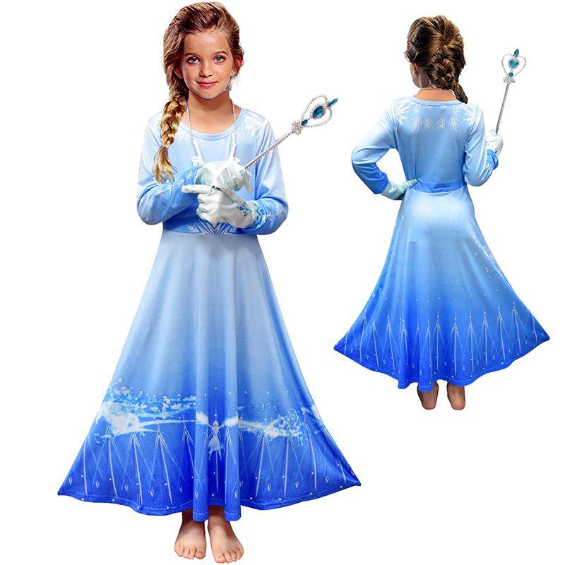 Kız Cosplay Kostüm Noel Cadılar Bayramı Partisi Giydirme Çocuk Uzun Kollu Elbise kıyafetler M1122 için yeni Snow Queen II Cosplay Fantezi Prenses Elbise