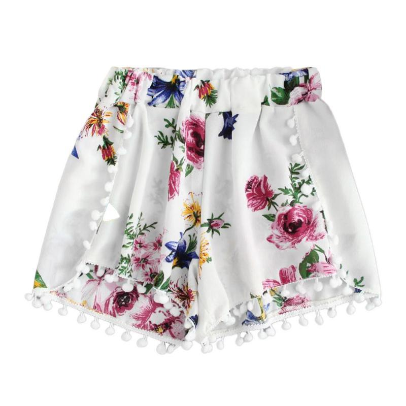 2020 New Women Bohemian Elastic Lacing Up Tassel Waist Print Flower Shorts White Ethnic Short Pants Trousers Femme Casual Pants