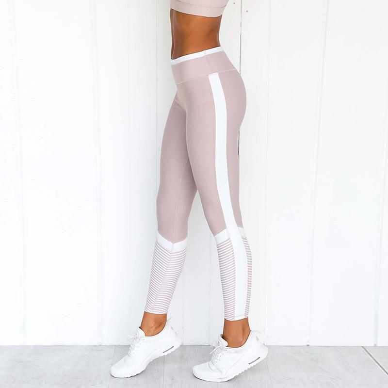 2018 Women Push Up Leggings For Fitness High Waist Workout Leggings Contrast Color Pink Sports Pants Girls Active Pants Skinny Y19072901