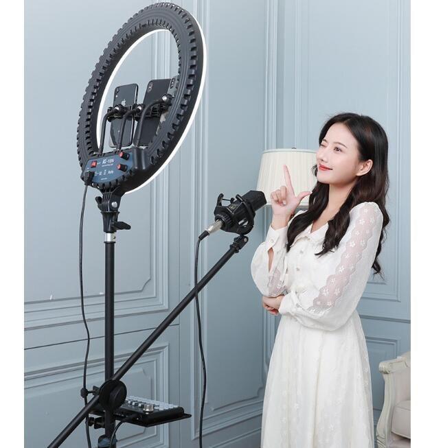 18 inç Halka Işık ile Tripod Standı Youtube Video ve Makyaj, Büyük LED Kamera Işık Cep Telefonu Tutucu ile Ücretsiz DHL Nakliye