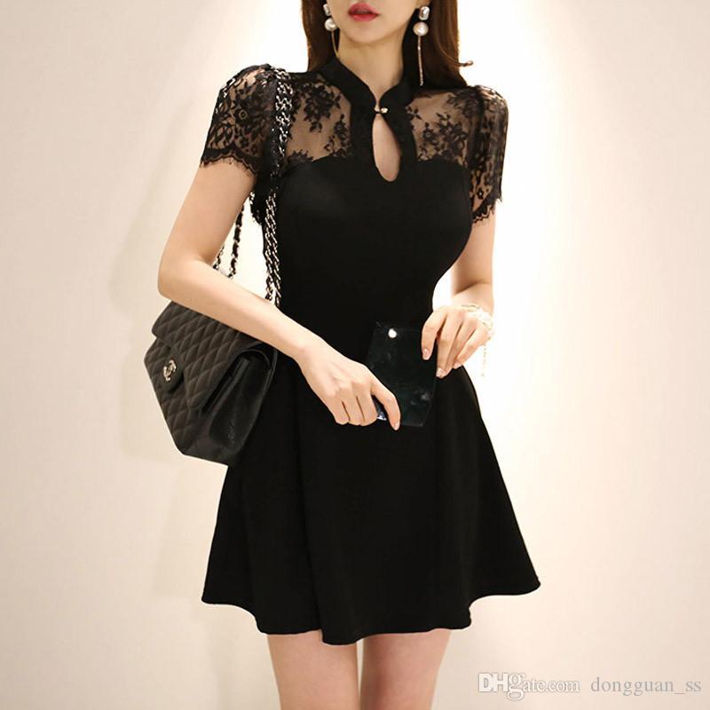 Summer Plus Size A-ligne Robe 2020 Femmes Noir à manches courtes stand élégant bureau Mini robe vintage en dentelle Robe courte Robes