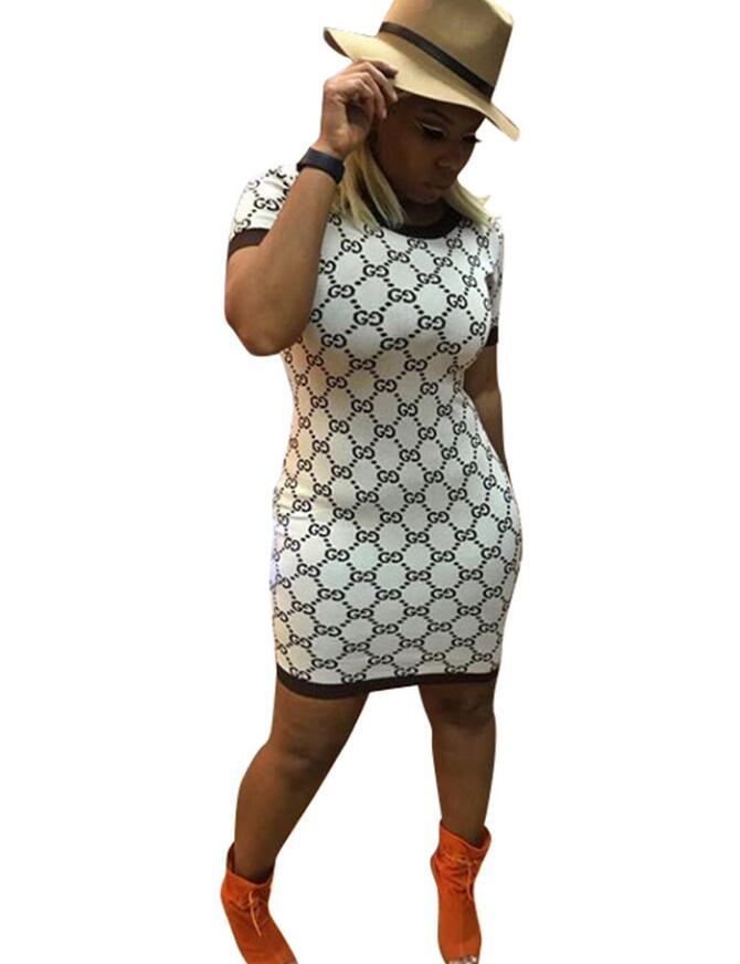 Mode-Femmes col rond manches courtes Imprimé T Shirt Dress bandage moulante robes Party Mini Dress Sexy grande taille robes occasionnelles