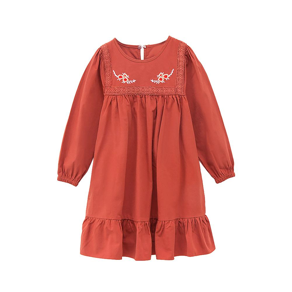 Embroidery Lace Flower Chinese Style Children Age For 4 - 14 Yrs Teenage Girls Loose 2019 Autumn Spring Long Sleeve Dress J190616