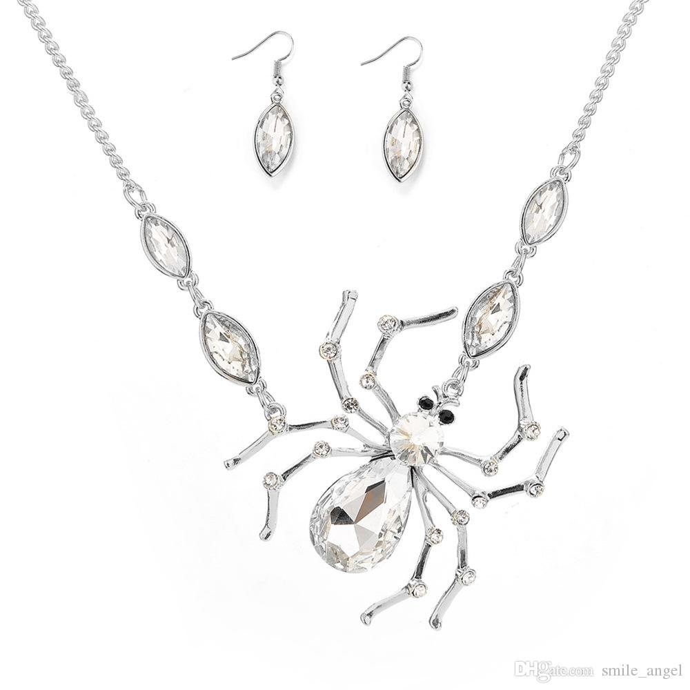 2019 Alloy Necklace For Woman Wedding Christmas Halloween Party Exquisite Decoration Diamond-encrusted Spider Pendant Necklace earrings