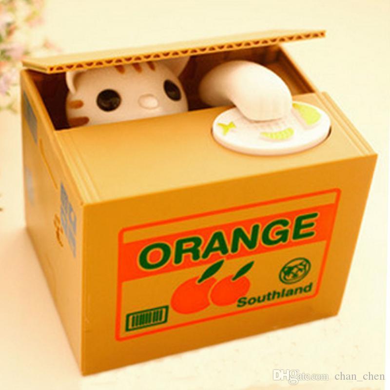 Tirelire automatique mignon de chat tirelire de caisse blanche de tirelire de pièce de monnaie 15 * 12.5 * 12.6cm d'économie d'argent de tirelire de boîte aux lettres cadeaux pour des enfants