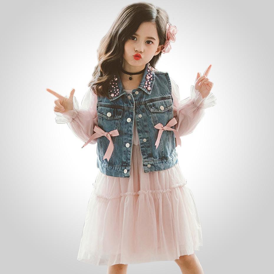 Niñas ropa de vestuario de perlas Cuello dril de algodón del chaleco + malla vestido de 2 piezas de ropa determinado de la muchacha adolescente vestir de los niños de 6 8 10 12 13 14 Año