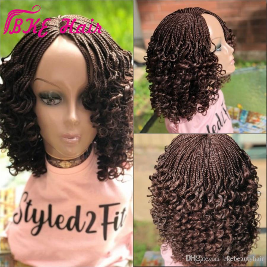 New Crochet Hair Box Braids Curly wig black /brown / Ombre Synthetic full lace front short braids wig for african amercian women