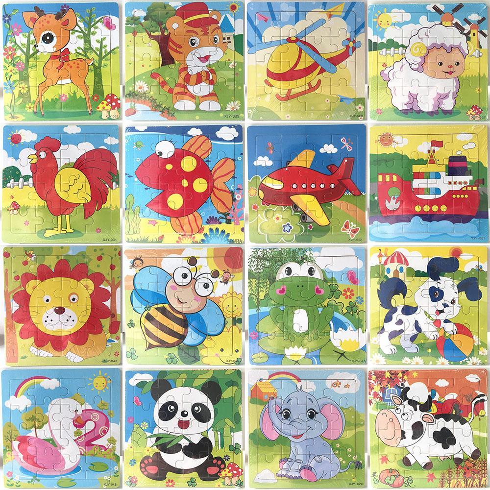 16 piezas de rompecabezas de madera kindergarten juguetes para bebés niños animales madera rompecabezas 3d niños edificio bloques divertidos juego juguetes educativos