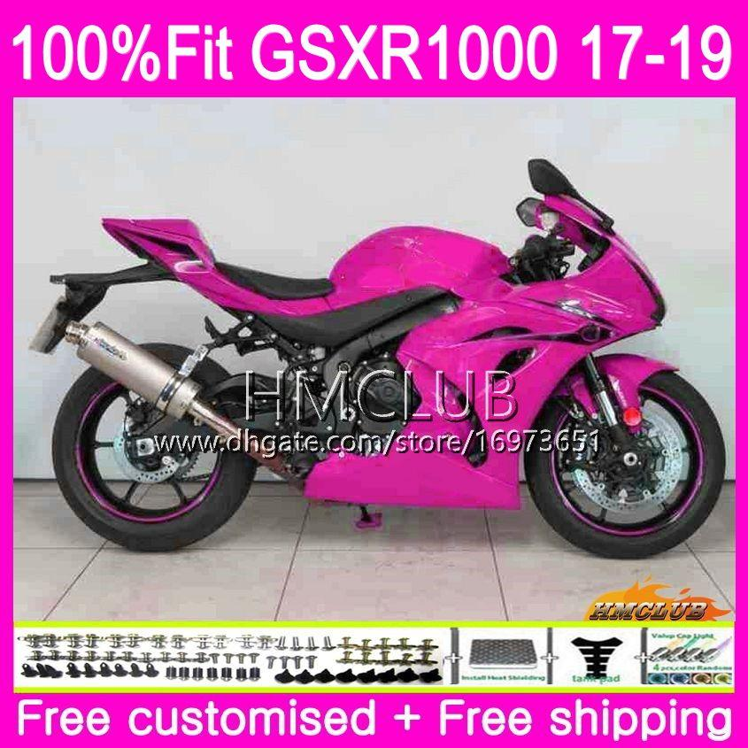 Комплект впрыска для SUZUKI GSX R1000 GSXR 1000 GSX-R1000 17 18 19 15HM.45 GSXR-1000 K17 L7 L8 GSXR1000 2017 2018 2019 продажа обтекателей глянцевый розовый