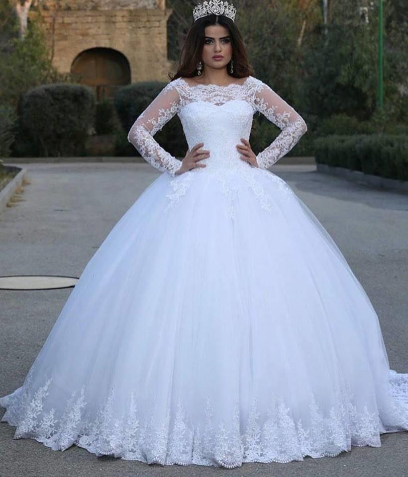 Vintage White Lace Appliques bal robe de mariage arabe manches longues Tulle Applique étage longueur de mariage Robes de mariée robe de soirée