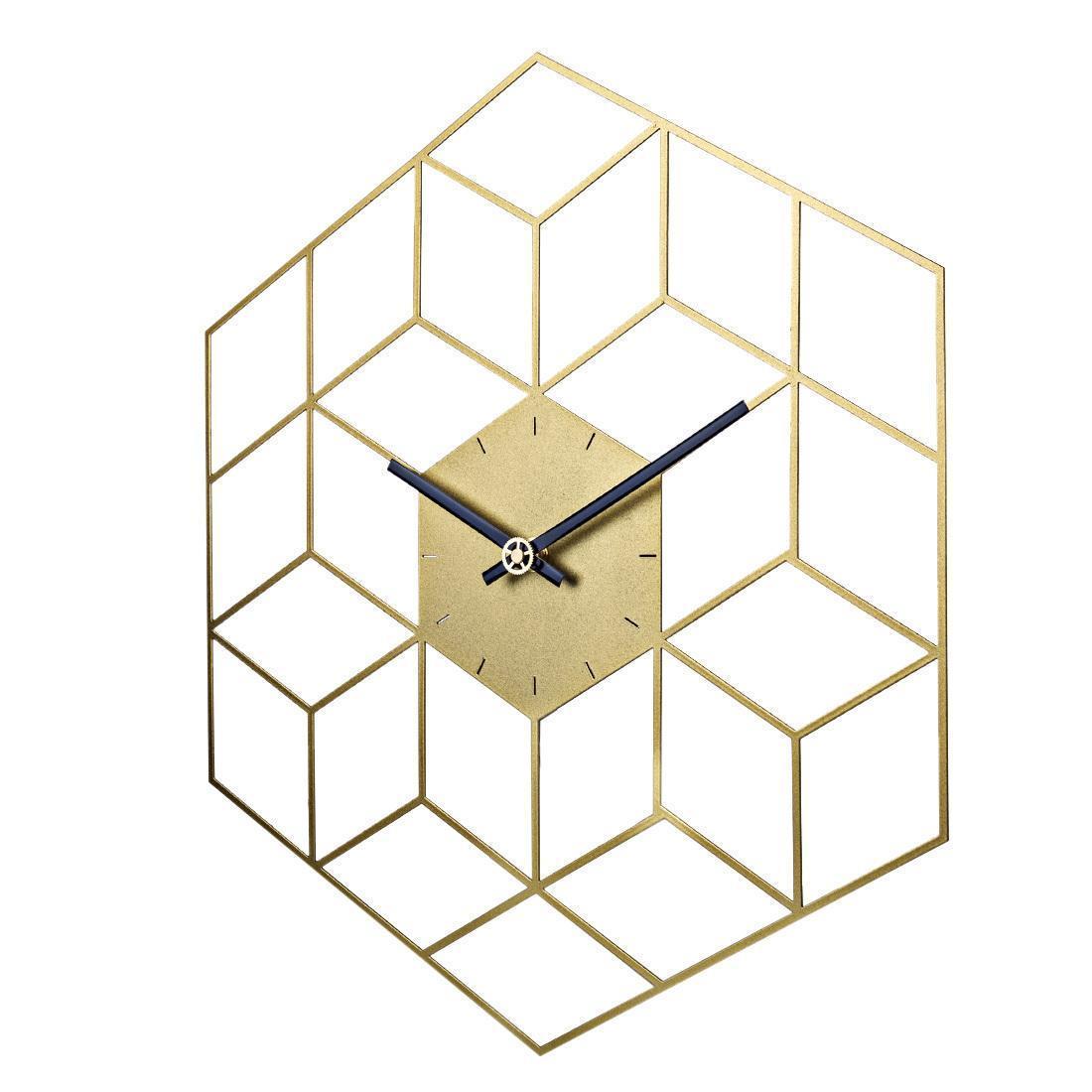 35 X 40cm Wall Cube Creative fer Horloge Montre minuterie fonctionne sur batterie silencieuse mur Horloges Home Decor Décoration - Échelle d'or Y200110