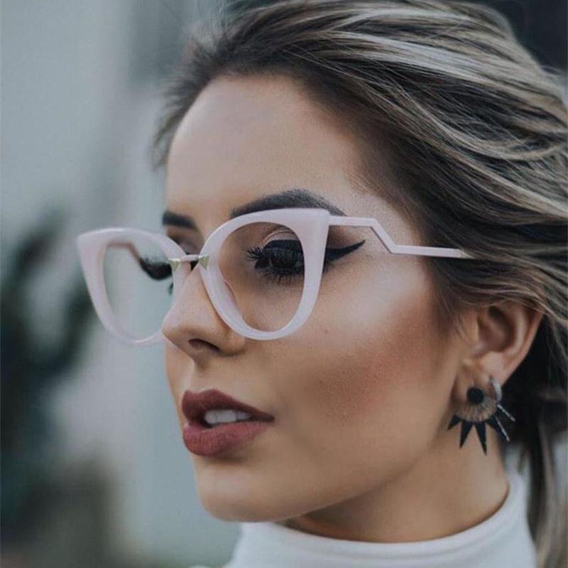 سيدة عين القط نظارات إطارات للنساء مثير العلامة التجارية الكبيرة واضح عدسة الوردي بصري العين نظارات موضة نظارات ظلال