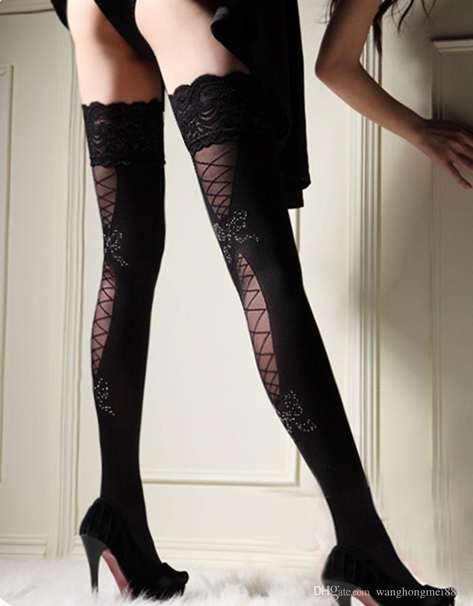 Women Sheer Lace Top Stay Up Thigh High Hold-ups Stockings Pantyhose Hosiery