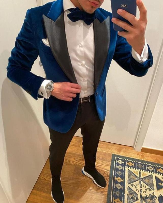 New Fashion Style Royal Blue Men Suits 2020 Costume Homme Wedding Tuxedos Groom Waistcoat Blazer For Man 2 Piece Jacket Pants