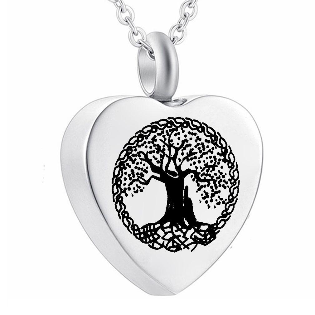 Corazón Colgante Collar Árbol de la vida Cremación Joyería para las cenizas, Recuerdo de Pascua para el papá Hermana Abuela Tía Esposa Hija Mamá
