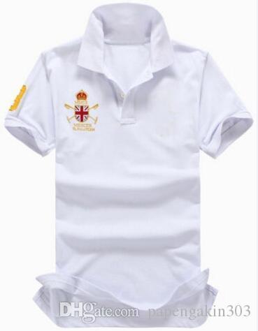 Vente en gros d'été à manches courtes hommes Polos grand cheval de broderie de haute qualité Coton Casual Male Polos Slim Mens T-shirt blanc Tops