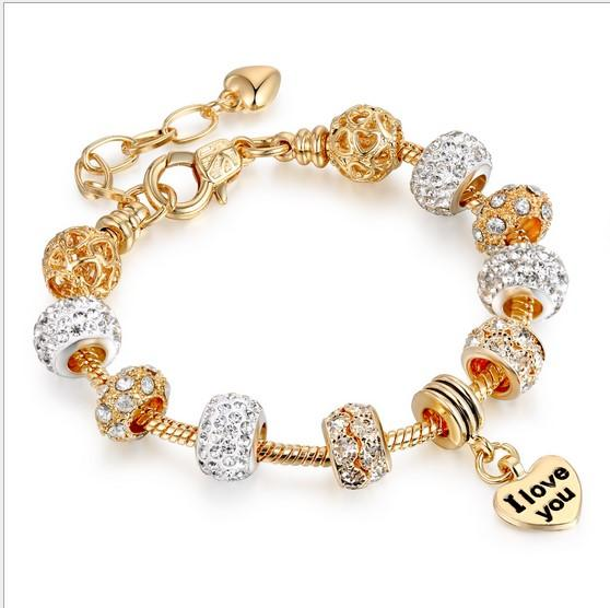 2a4a372ee Fashion 18k Gold Plated 925 Silver Austrian Crystal Charms Beads European  Charm Beads Crystal Ball Pendant