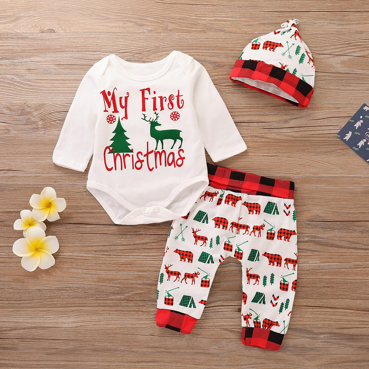 Mameluco infantil de Navidad + Pantalones + Sombrero Oso de ciervo Ropa de bebé a cuadros 100% algodón Explosión de año nuevo