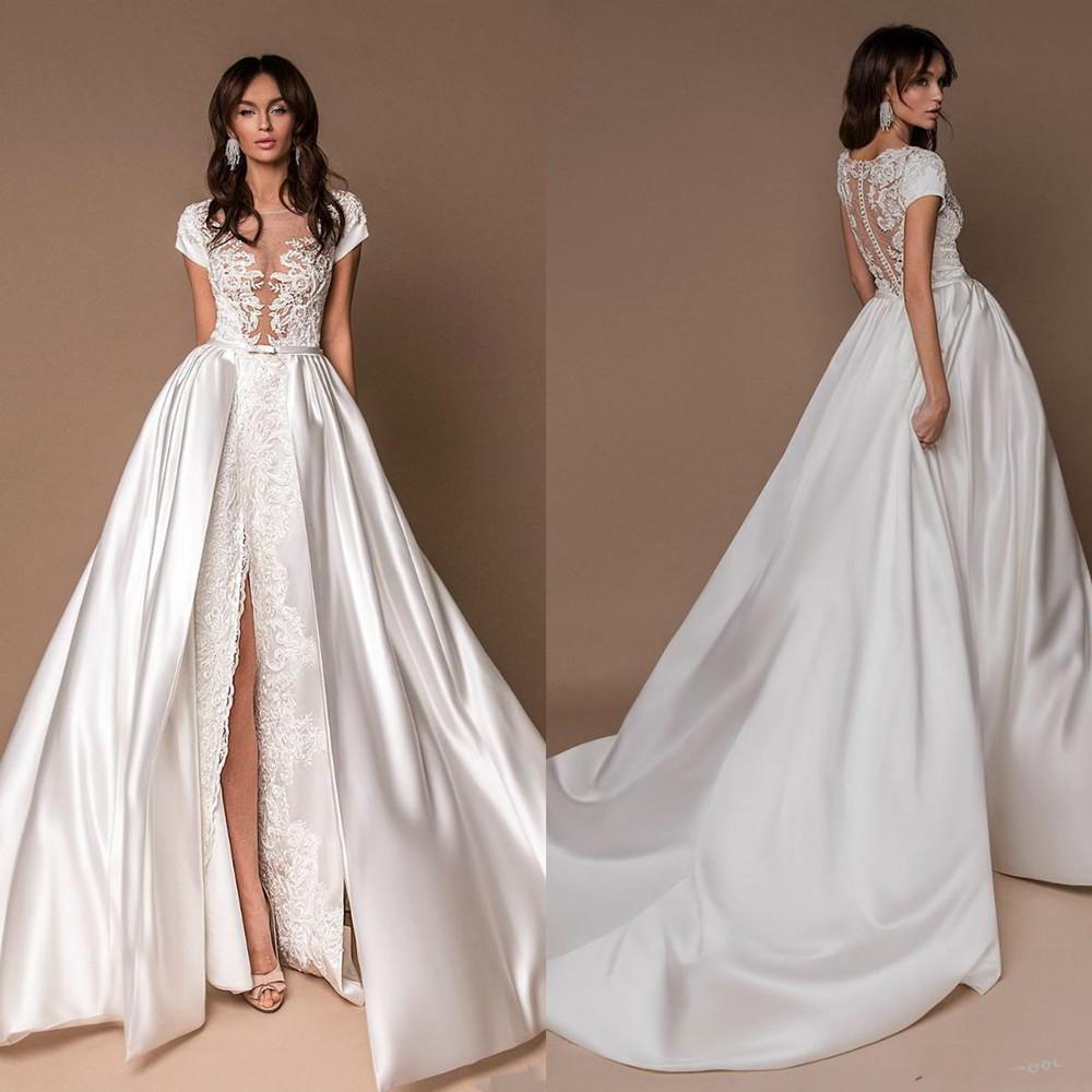 2020 New White Wedding Dresses With Satin Detachable Train Lace Bridal Gowns Front Split Illusion Princess Boho Beach Wedding Dress Cheap
