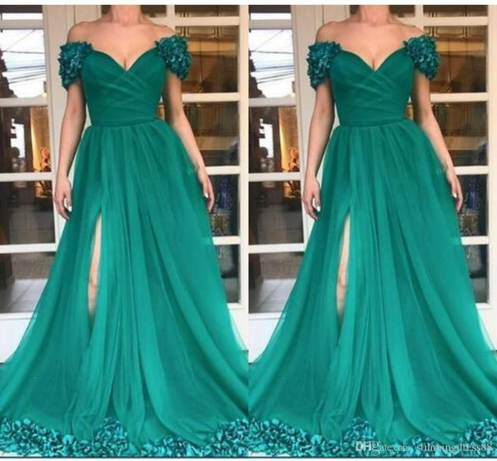 Fashion Emeral Green Evening Bridesmaid Dresses Formal Gowns Cap Short Sleeves High Slit 3D Floral Flowers South African Prom Dress