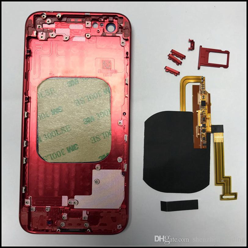اصنع iPhone 6G 6S 6P 6SP 7 7P مثل iPhone 8 Glass Back Housing مع شاحن لاسلكي مدمج