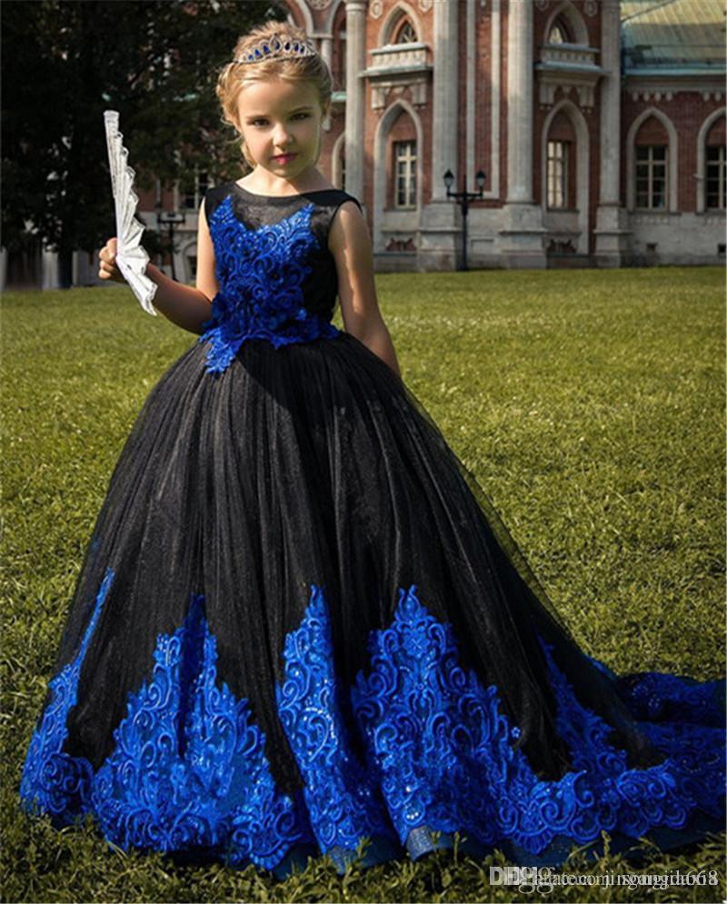 Новый Puffy Тюль платье девушки цветка с Lace аппликаций Поезд рукавов Элегантные девушки день рождения халатов Backless выполненном на заказ
