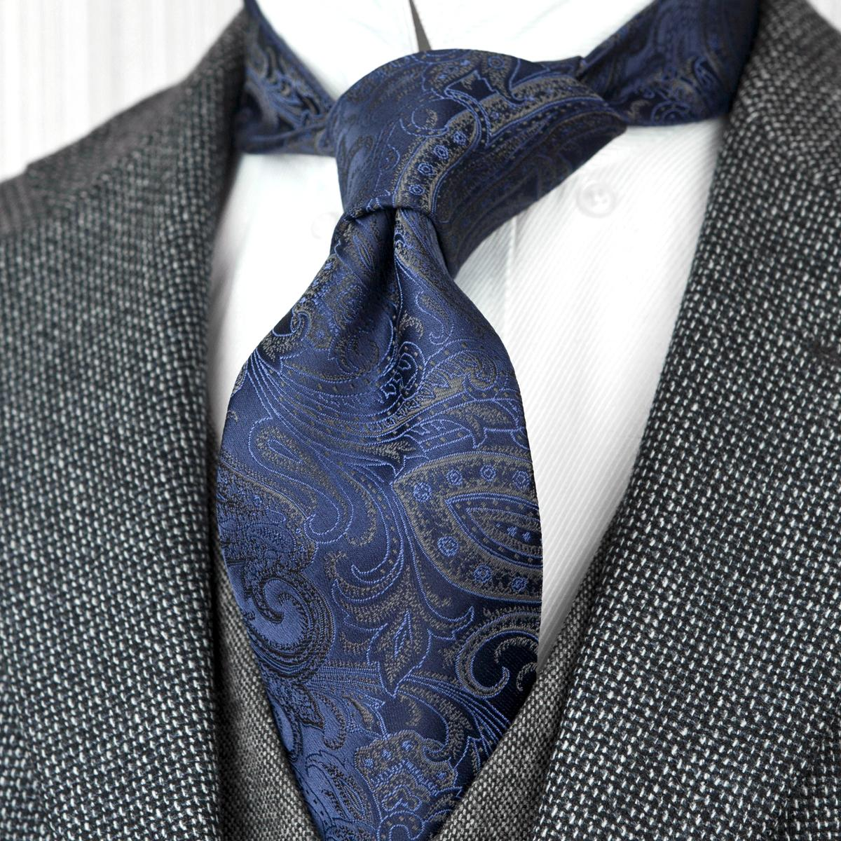 F21 Wholesale Paisley Navy Blue Multicolor Mens Ties Neckties 100% Silk Jacquard Woven Suit Gift For Men Attractive Acceossories