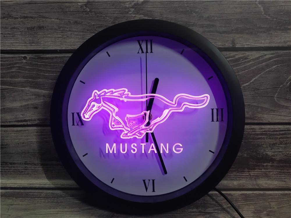 0G054 فورد موستانج APP RGB LED النيون ساعة الحائط ضوء علامات