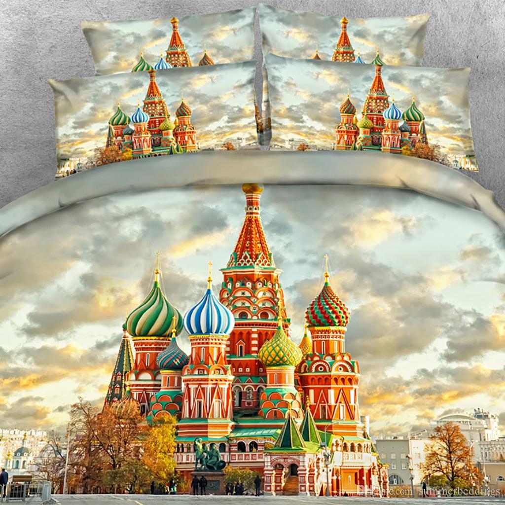 3PCS 3D Tree castle Print Duvet Cover Set Bedding with pillowcase, Microfiber Quilt Cover, Zipper Closure, NO Comforter