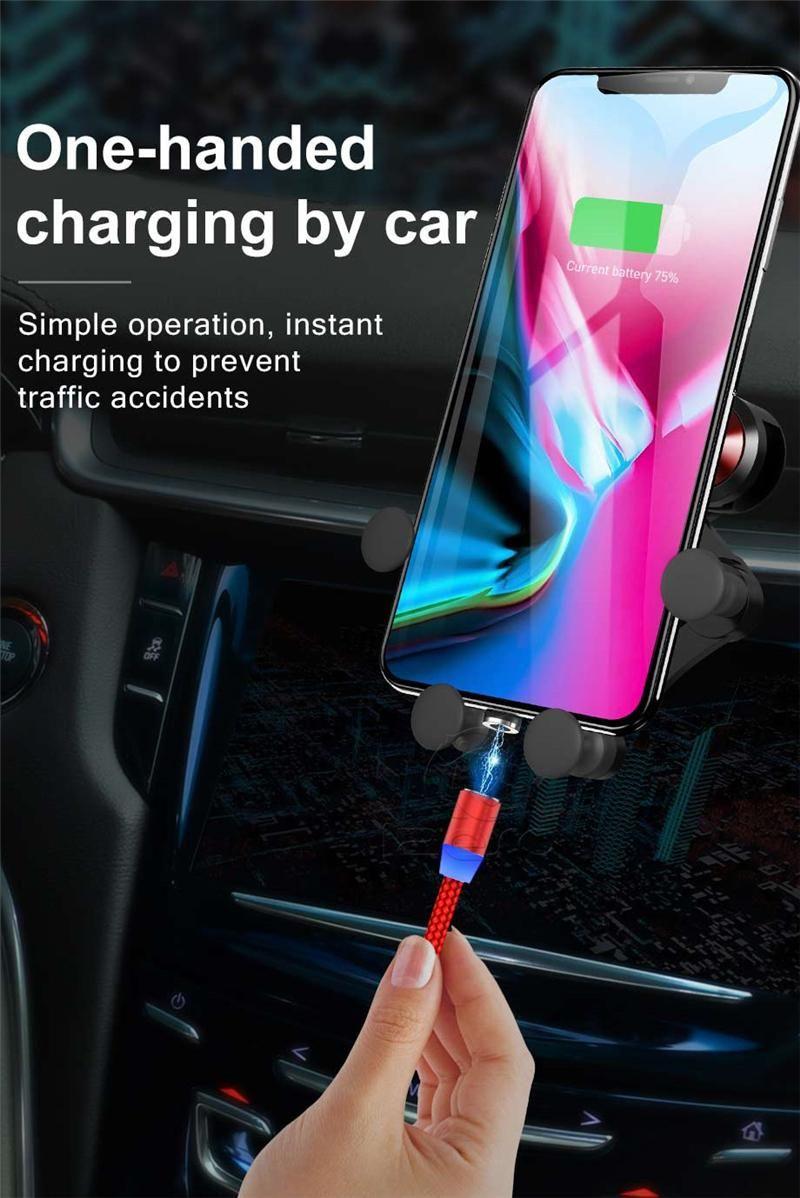 3 in 1 Magnetladekabel 2A Nylon-LED glühenden Cord 1m Mikro-USB-Typ-C-Ladekabel für Smartphone in der Box.