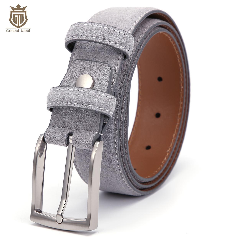 Cinghie di cuoio di lusso genuina pelle scamosciata per gli uomini di sesso maschile con Vintage nichel spazzolato Pin fibbia 90-130cm T200615