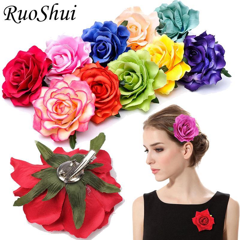 1pc Rose Artificial Flower Brooch Bridal Wedding Party Hairpin Women Hair Clips Headwear Party Girls Festival Hair Accories