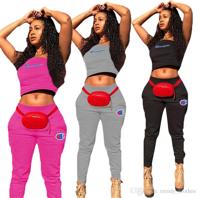 Champions Thick Women Brand 2 Piece Sets Casual Suit Vest Leggings Tracksuits Crop Top Fall Winter Clothing Tank Top Jogger Suit Sell 1775