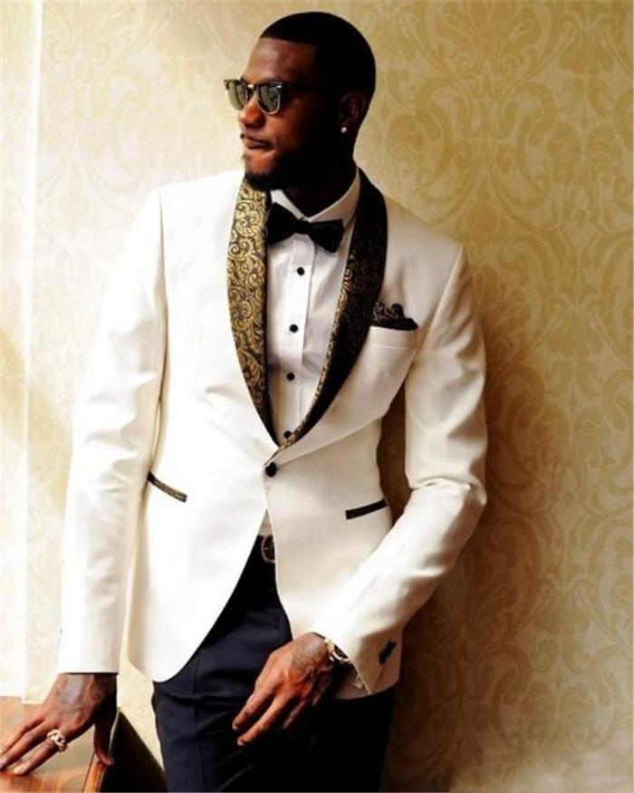스타일 아이보리 남자 웨딩 턱시도 어깨 걸이 옷깃 한 단추 신랑 턱시도 최고 인기 드레스 남성 비즈니스 디너 / Darty Suit (Jacket + Pants + Tie) 336