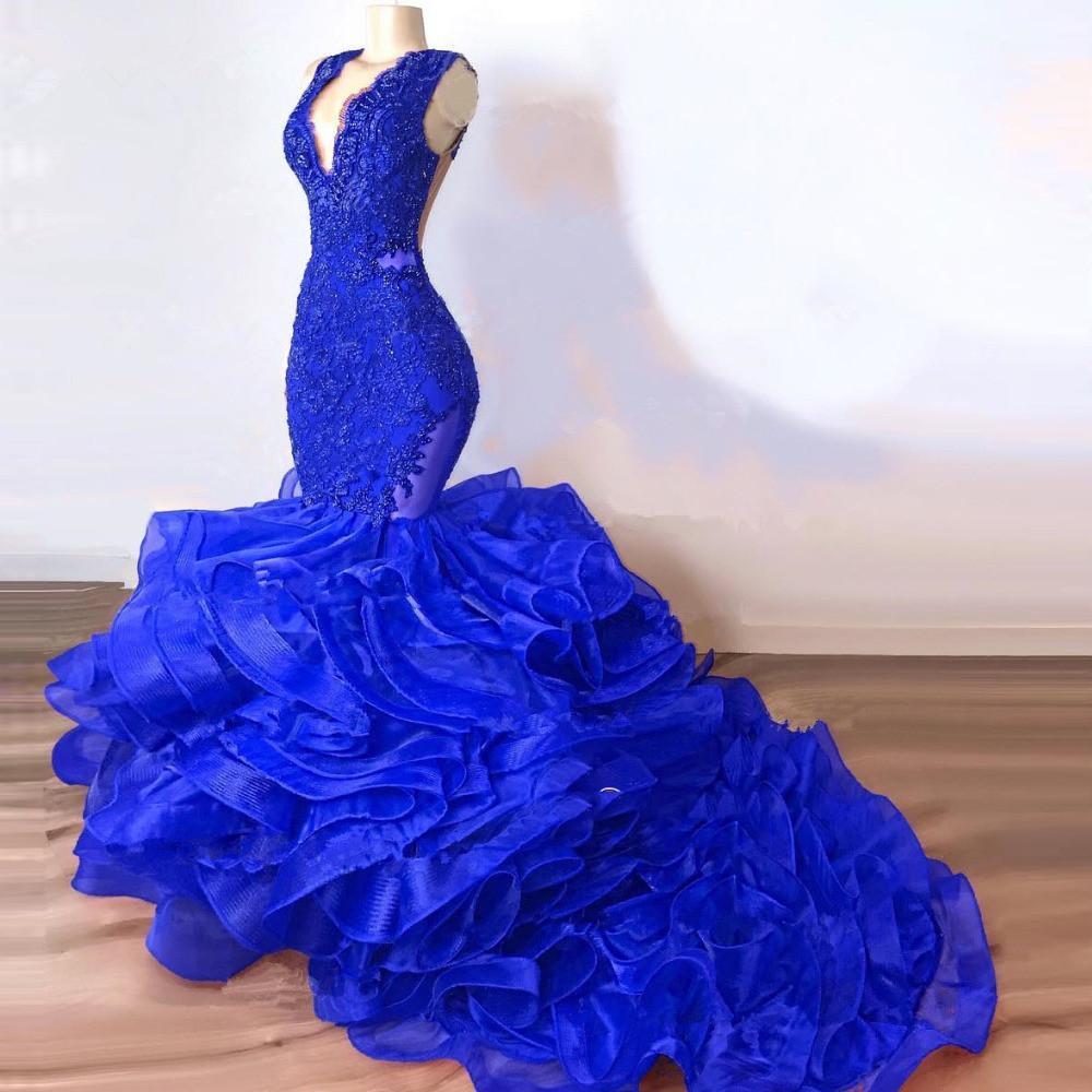 Luxury Royal Blue Pizzo Beaded Sirena Dress Prom Dresses 2020 Pulffy Bottom Ruffles Long Abiti da ballo Sexy Dress Party Vestido Formatura