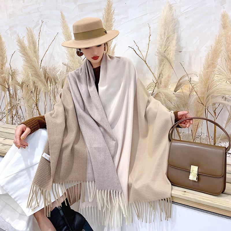 2019 Nueva doble cara tela escocesa mujeres del invierno bufanda de la cachemira de Pashmina chales y abrigos Mujer Foulard de lana Estolas Hijab cabeza bufandas Y200103