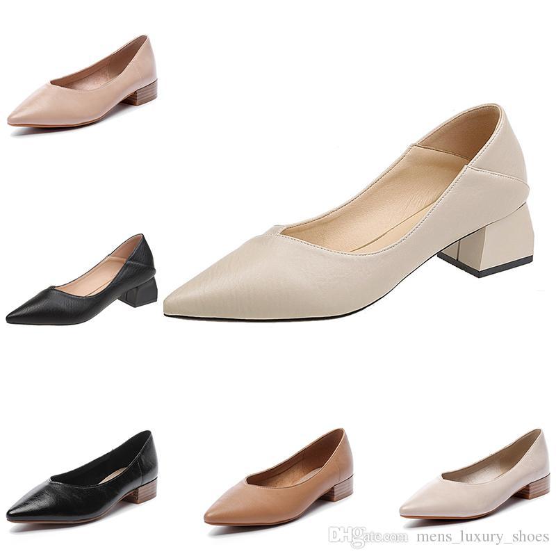 Горячая женская повседневная кожаная обувь чистый цвет туфли на среднем каблуке с заостренным мелким ртом открытый бег обувь для ходьбы main1
