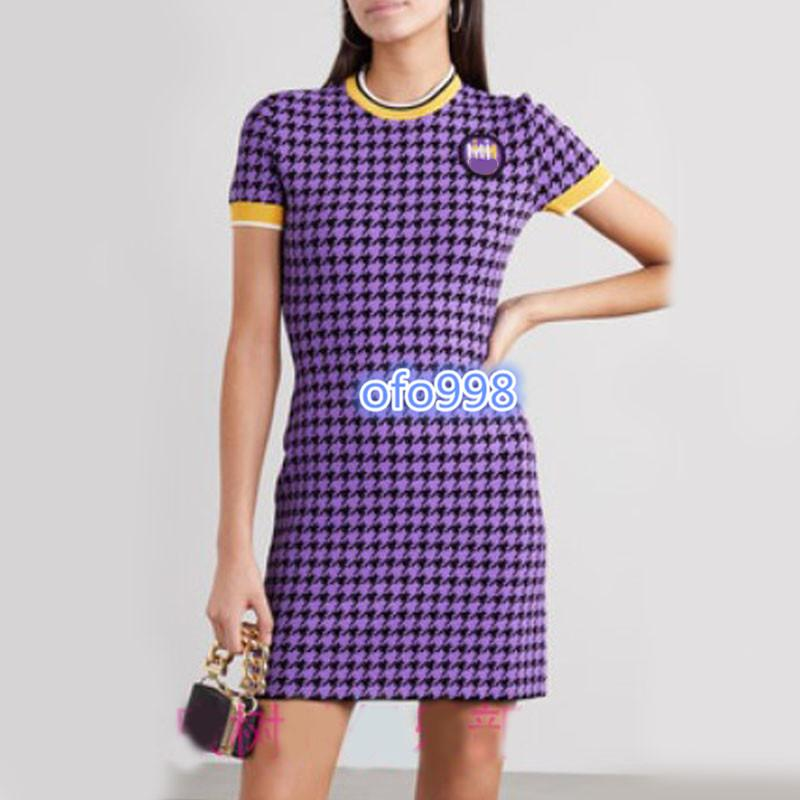 high end women knit midi vest dress Color Houndstooth printing Short sleeve Direct skirt milano runway fashion design luxury dresses