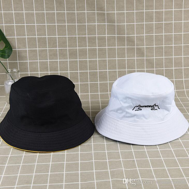 Dupla face vestindo pescador chapéus para homens e mulheres primavera e verão selvagem ao ar livre viagem protetor solar chapéu de sol bordado touca