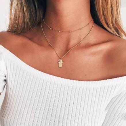 Collana satellitare Layered Ananas Collana girocollo doppio strato per i monili del Giorno della collana di tutte le donne e ragazze